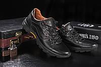 Мужские кожанные повседневные кроссовки Clarls Черные 555_chorni р: 40 41 42 43 44 , фото 1
