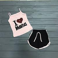 Комплект майка и шорты с двусторонними пайетками для девочек оптом р1-.2 и 3-4 года