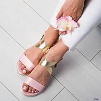 Сандалии женские пудра, фото 1