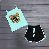 Комплект майка и шорты с двусторонними пайетками для девочек оптом р.2-8 лет