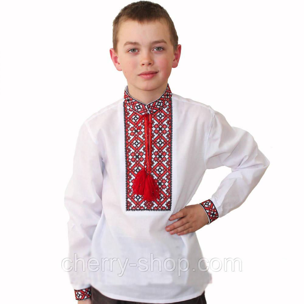 Біла вишиванка з орнаментом для хлопчика
