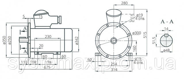Взрывозащищенный электродвигатель АИУ 160S4 (ВАИУ 160S4)