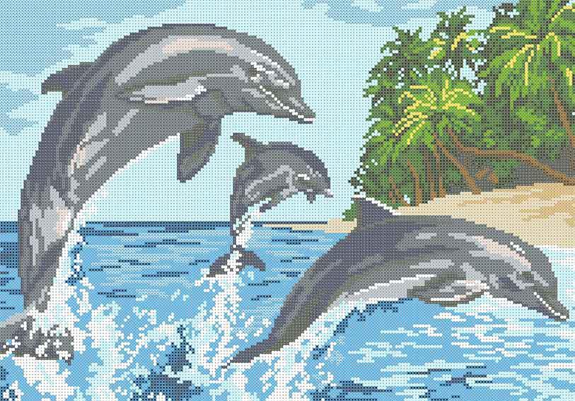 Схема для вышивания бисером Дельфины БИС3-179 (А3)