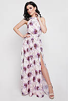 Легкое платье в пол сбоку разрез без рукав талия на резинке цвет пудра