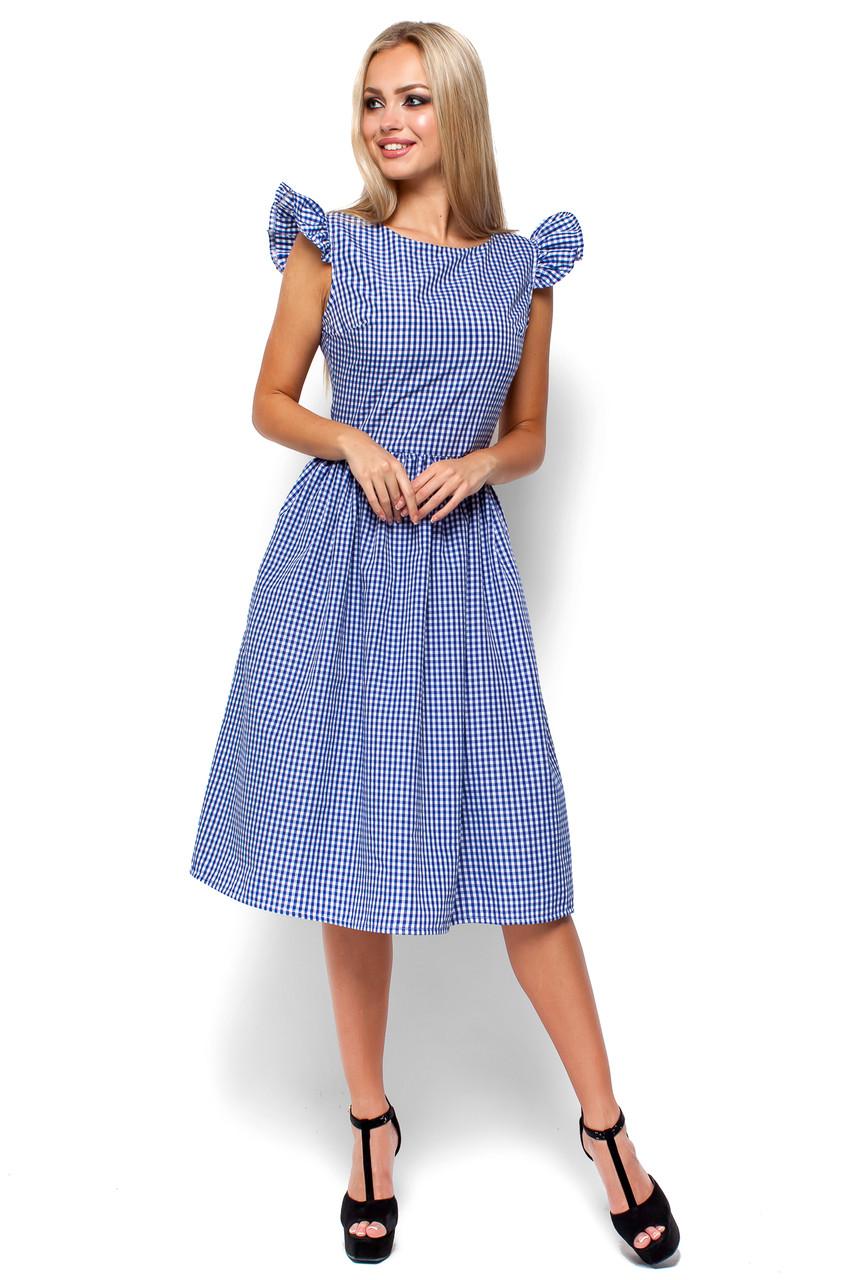 Женское летнее платье миди Karree Регина синяя клетка