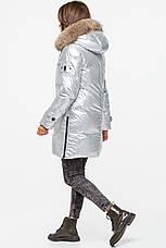 Зимний женский теплый пуховик MSD-S519 с натуральным мехом (енот), фото 3
