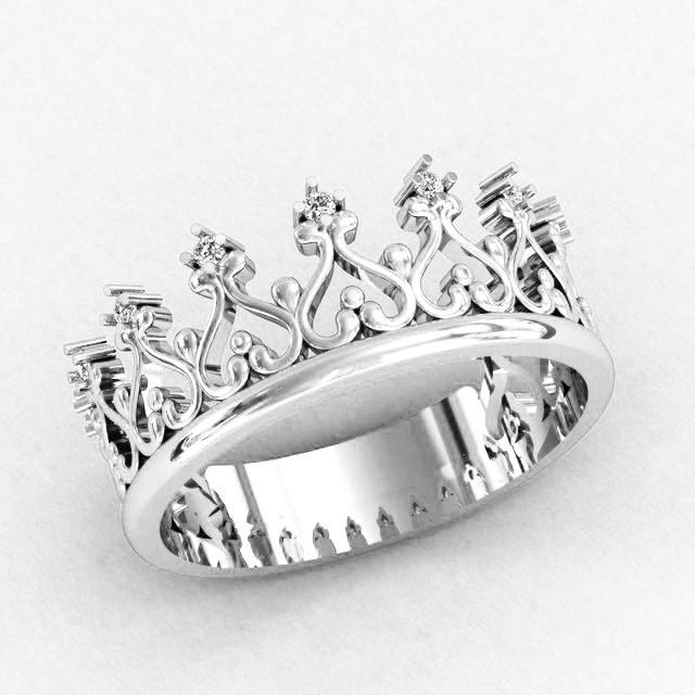 Кольцо  женское серебряное  Корона