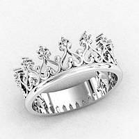 Кольцо  женское серебряное  Корона , фото 1