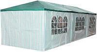 Павильон, Палатка, Навес для свадеб, мероприятий 3х9м 8 стенок Зеленый (Полосатый)