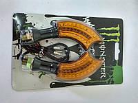 Повороты светодиодные (пара) серп, черные, желтое стекло, 21 диод №234065 Monster Energy