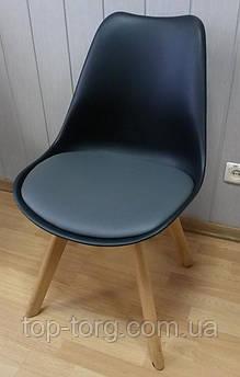 Стілець Sеdia black/grey чорний з сірим м'яким сидінням, дерев'яні ніжки
