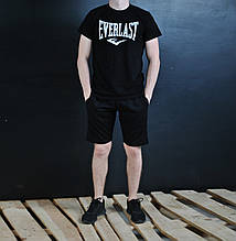Только размер S!!! Спортивный комплект В стиле Everlast футболка черная+черные шорты