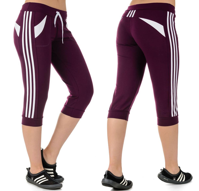 Бриджи летние женские спортивные брюки капри с лампасами трикотажные Турция
