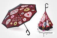 ОРИГИНАЛ! Зонт обратного сложения Umbrellas Темный пончик