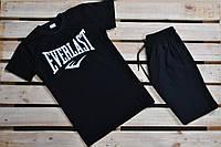 Только размер S и M !!! Футболка для зала В стиле Everlast хлопок черная с надписью