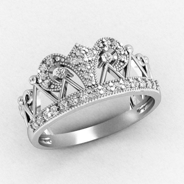 Кольцо  женское серебряное Корона Византия