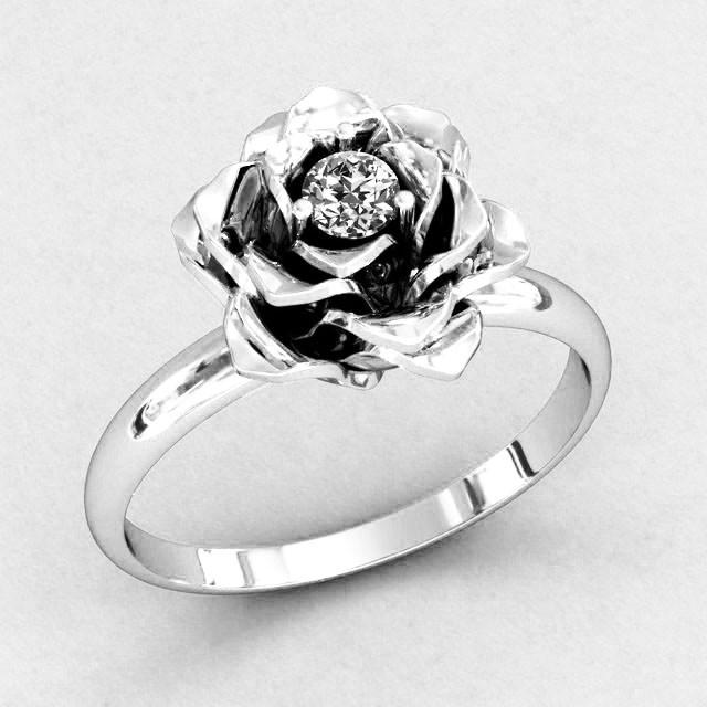 Кольцо  женское серебряное Роза