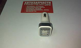 Адаптер зарядне у прикурювач з вольтметром 2 USB