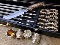 """Подарочный набор """"Морской"""" Нож Шампура Стопки 4 штук"""