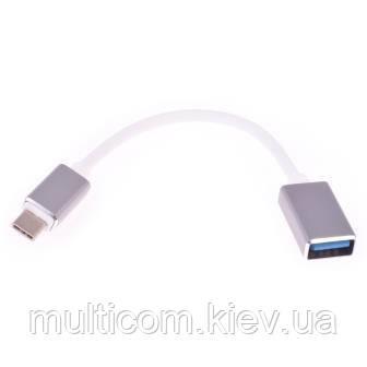 04-00-013. Адаптер OTG (штекер USB type C - гнездо USB 3.0), серый, с кабелем 0,2м