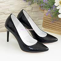 Туфли на шпильке, женские лаковые, рептилия черная, фото 1