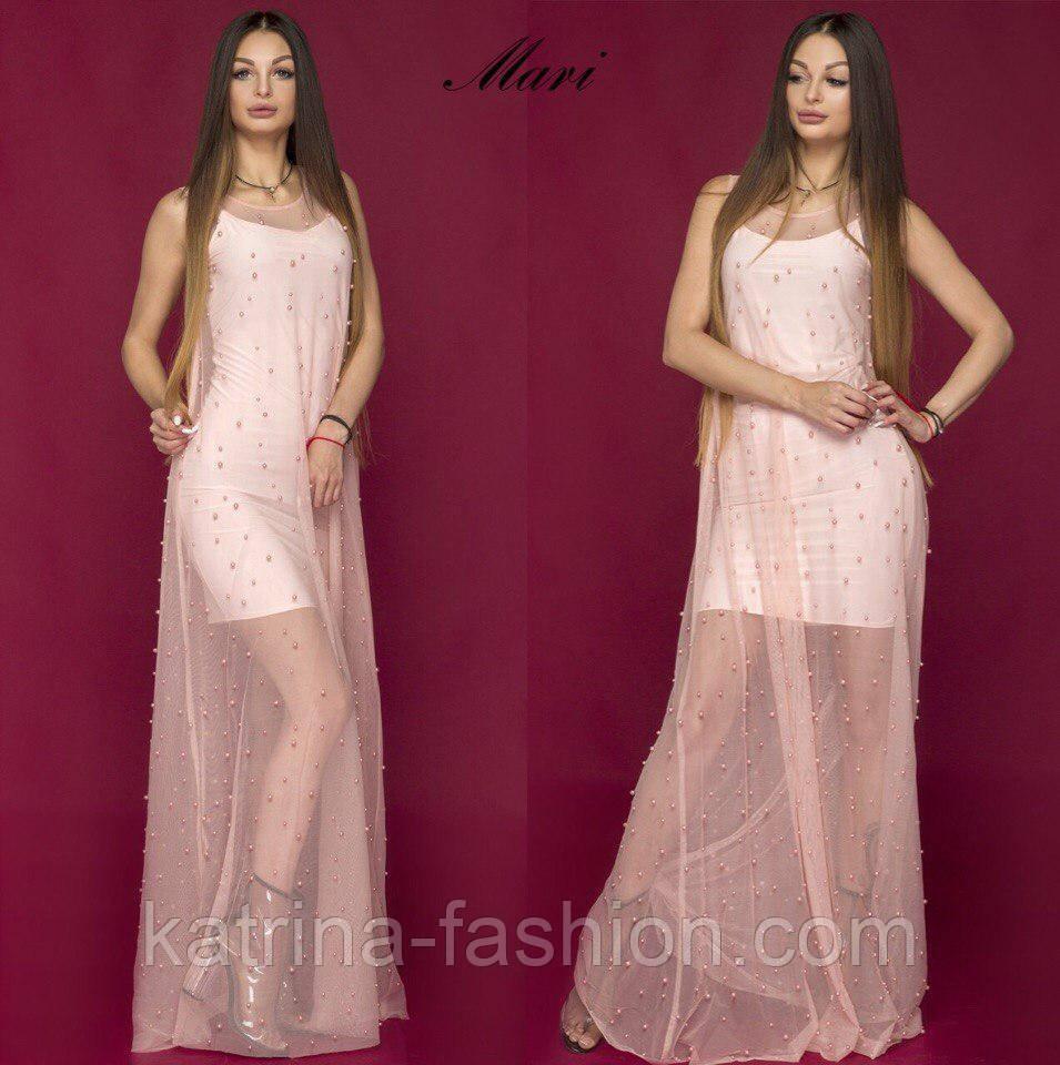 06149e9725f5 Женское вечернее платье-двойка с бусинами  сетка и нижнее платье-майка (2