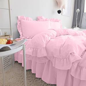 Комплект постельного белья С рюшей Сатин Премиум Розовый