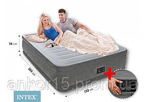 Двоспальне надувне ліжко INTEX 64418 (152 х 203 х 56 см) з електронасосом.