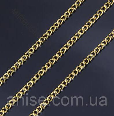 Цепь из Латуни, Витая, Цвет: Золото, Звено: 3х2мм, Толщина 0.6мм