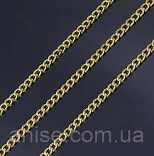 Ланцюг з Латуні, Кручена, Колір: Золото, Ланка: 3х2мм, Товщина 0.6 мм