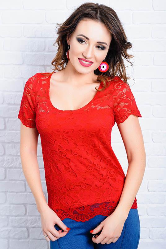 Красная кружевная блузка -Кристина - до р.60