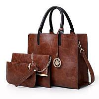 Женская сумка из экокожи набор 3в1 с брелочком коричневый, фото 1