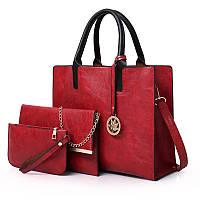 Женская сумка из экокожи набор 3в1 с брелочком красный