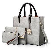 Женская сумка из экокожи набор 3в1 с брелочком серый опт