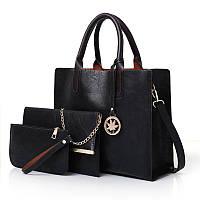 Женская сумка из экокожи набор 3в1 с брелочком черный, фото 1