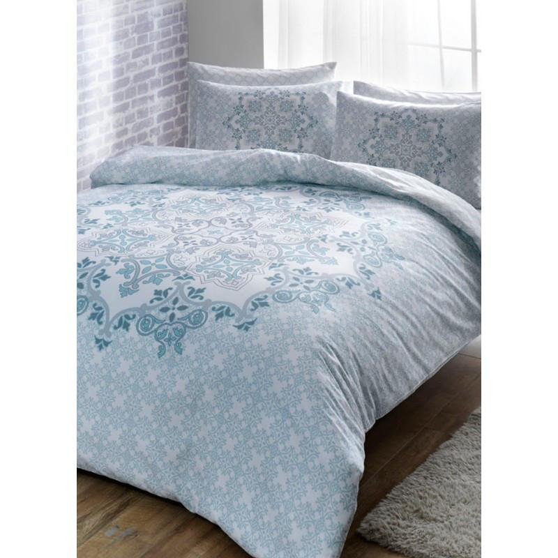 Постельное белье Tac сатин - Hazel mavi v01 голубой семейное
