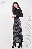 Стильная вязаная юбка в пол, с серо-синими полосками Код:669141097