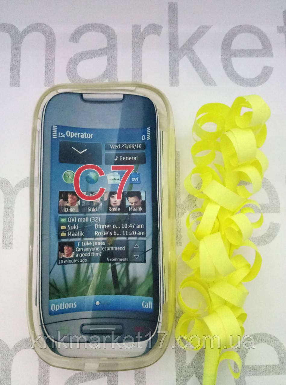 Чехол для Nokia C7  ( прозрачный силикон принт)