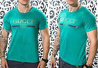 "Стильная мужская футболка Gucci ""Трикотаж"" бирюза 50, 52, 54 размер батал"