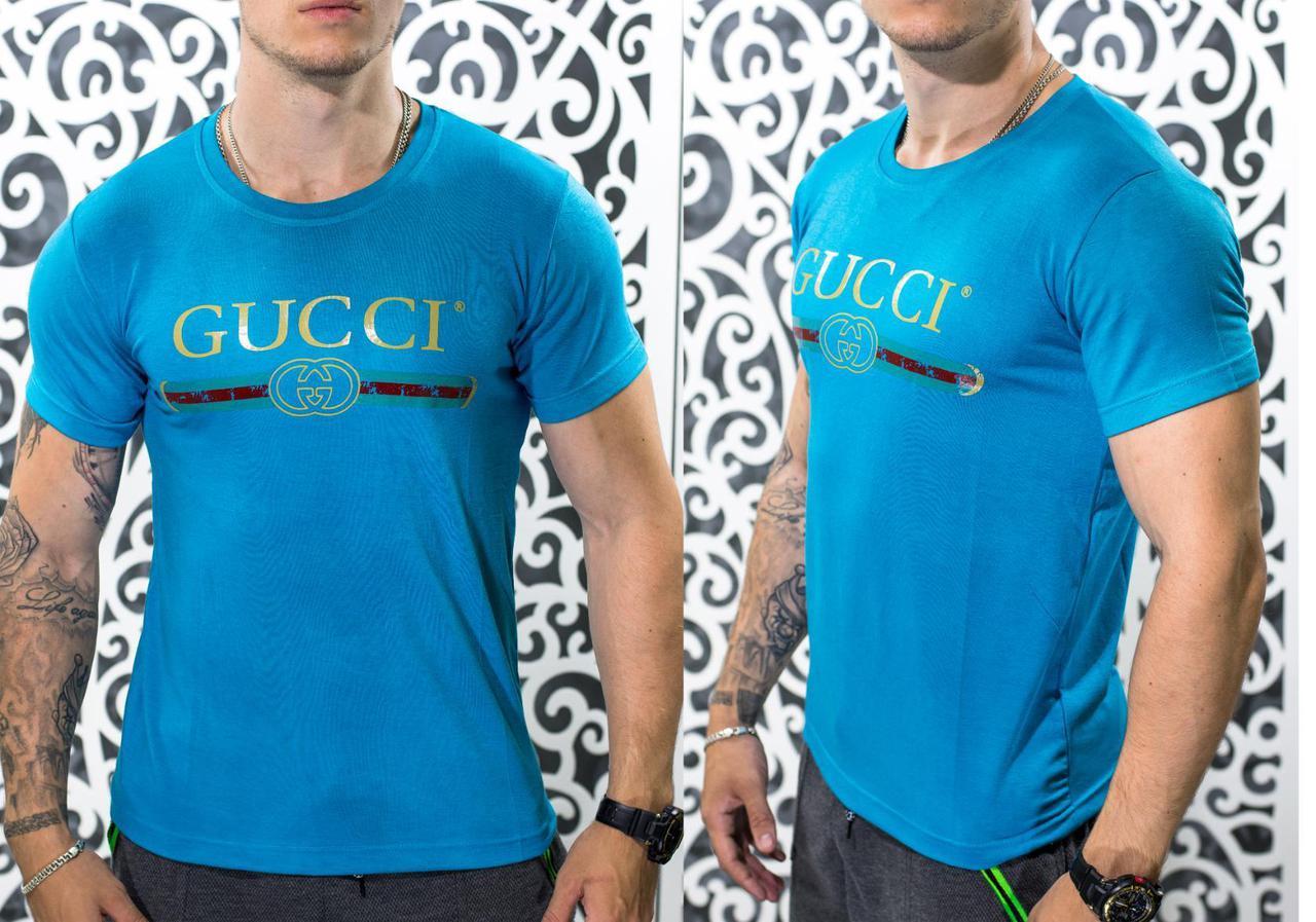 """Стильная мужская футболка в стиле Gucci """"Трикотаж"""" г 50, 52, 54 размер батал"""