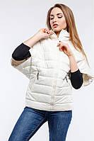 Стильная куртка-жилет прямого кроя, молочного цвета. Размеры: 42-54 Код:679100005