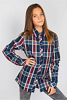 Подростковая Рубашка в Крупную Клетку с Контрастной Планкой
