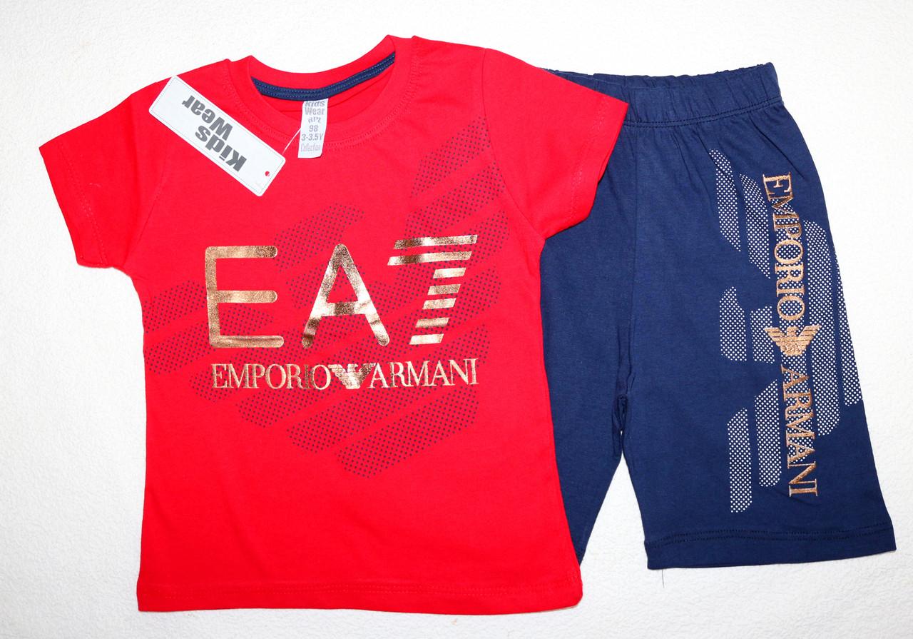 Летний костюм на мальчика футболка с шортами Armani 104,110,116,128 см 100 % хлопок