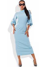 Блакитне плаття футляр міді Д-1275