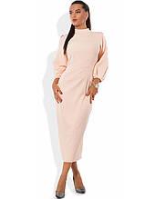 Персикове плаття футляр міді Д-1274