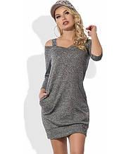 Трикотажне сіра сукня з люрексом Д-1259