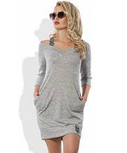 Трикотажне сіра сукня з люрексом Д-1257