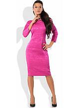 Яскраво-рожеве плаття з жаккарда Д-1256