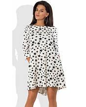 Модне біле плаття з зірочками Д-1255