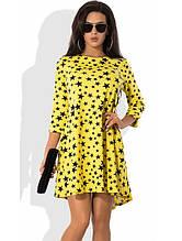 Модне жовте плаття із зірочками Д-1254